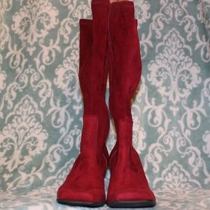 Red Franco Sarto Heeled Boots